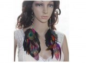 Long Feather Earrings for Women Colourful Wood Natural Feather Earrings