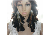 Long Feather Earrings for Women Chain Black Natural Feather Earrings