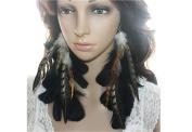 Long Feather Earrings for Women Black Feather Earrings