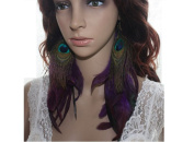 Natural Feather Earrings Purple Peacock Feather Earrings for Women