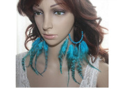 Long Feather Earrings for Women Circle Bead Blue Natural Feather Earrings