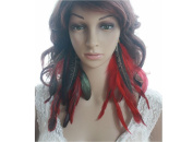 Peacock Feather Earrings for Women Red Natural Feather Earrings