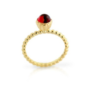 925 Sterling Silver CZ Gold-Tone Plated Simulated Ruby Solitaire Bohemian Ring 7MM (Made in USA) Size 7