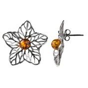 Sterling Silver Amber Flower Stud Earrings