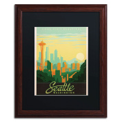 Trademark Fine Art Seattle Canvas Artwork by Anderson Design Group, 41cm by 50cm , Black Matte with Wood Frame