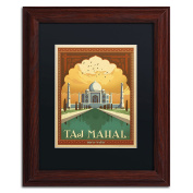 Trademark Fine Art Taj Mahal Canvas Art by Anderson Design Group, 28cm by 36cm , Black Matte with Wood Frame