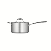 Tramontina 80116/024DS Gourmet 18/10 Stainless Steel Induction-Ready Tri-Ply Clad Covered Sauce Pan with Helper Handle, 3.8l, Stainless