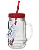 Creative Bath MAS01RD All American Mason Jar Mug With Re-Useable Straws, 590ml, Red