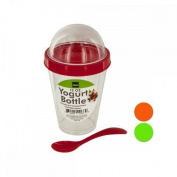 Kole HW778 Yoghurt Cup with Topping Compartment and Spoon, Regular