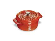 Staub 11010806 Mini Round Cocotte Oven, 0.2l, Burnt Orange/Cinnamon