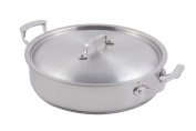 Bon Chef 60030 Stainless Steel Induction Bottom Cucina Pot with Cover, 5.7ls Capacity, 30cm - 1cm Diameter x 7.6cm Height