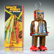 """MS403 gold tin toy Space Robot.""""IT SPARKS"""" Yoshiya Sparky Vintage Windup replica"""