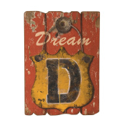 Wilco Imports Dream Wooden Wall Decor in Distressed Red, Blue and Golden Colours