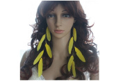 Feather Earrings for Women Copper Tone Yellow Long Feather Earrings for Women