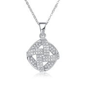 Simulated Diamond Twisted Micro Pave Pendant Necklace Set