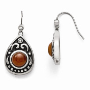 Best Birthday Gift Stainless Steel Polished/Antiqued Red Agate/CZ Dangle Earrings