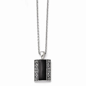 Best Birthday Gift Stainless Steel Black Onyx Antiqued Rectangular Necklace