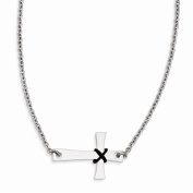 Jewellery Best Seller Stainless Steel Sideways Cross with Rubber Accent Necklace