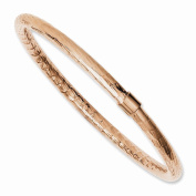 Best Birthday Gift Stainless Steel Rose IP-plated Textured & Polished Hollow Bangle