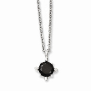 Best Birthday Gift Stainless Steel Black CZ Pendant Necklace