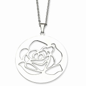 Perfect Jewellery Gift Stainless Steel Rose Cutout Pendant Necklace