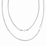Best Designer Jewellery Stainless Steel Layered Sideways Cross Necklace