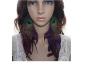 Long Feather Earrings for Women Peacock Purple Natural Feather Earrings