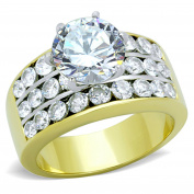 Stainless Steel 5.35 Ct Round Cut CZ Gold Ion Plated Engagement Ring Sizes 5-10