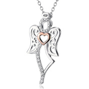 Two-Tone 925 Sterling Silver Angel Wing Heart Cubic Zirconia Charm Rolo Chain Necklace, 41cm +5.1cm