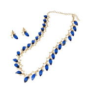 EVBEA Colour Bule Imitation Gold Plated Set Leaves Jewellery Set Necklace Earrings For Women