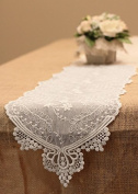 Lace Table Runner in White - 30cm Wide x 190cm Long