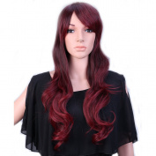 """28"""" / 70cm Heat Resistant Synthetic Wig Japanese Kanekalon Fibre Full Wig with Bangs Long Curly Wavy Full Head for Women Girls Lady Fashion and Beauty Ombre 2 Tone Brown Rose Mixed"""