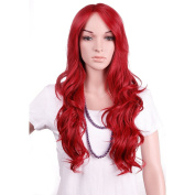 "28"" / 70cm Heat Resistant Synthetic Wig Japanese Kanekalon Fibre Full Wig with Bangs Long Curly Wavy Full Head for Women Girls Lady Fashion and Beauty Dark Red"