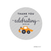 Andaz Press Birthday Round Circle Labels Stickers, Thank You for Celebrating With Us, Construction Truck Digger Excavator Backhoe, 40-Pack, For Gifts and Party Favours