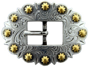 BS9307-SRTPGP Antique silver and gold Cart Berry Centerbar Buckle