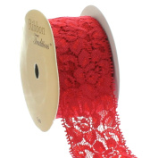 Ribbon Traditions 3.8cm Stretch Elastic Lace Trim Red 5 yards