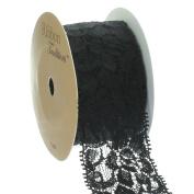 Ribbon Traditions 3.8cm Stretch Elastic Lace Trim Black 5 yards