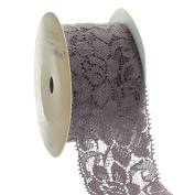 Ribbon Traditions 3.8cm Stretch Elastic Lace Trim Cocoa 5 yards