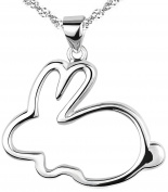 Modogirl Silver Plated Rabbit Rubby Pendant Necklace Women Birthday Gift