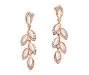 Modogirl Crystal Rose Gold-plated Cat Eye Stone Stud Earrings for Lady
