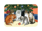 Caroline's Treasures Cats Under The Christmas Tree Glass Cutting Board, Large, Multicolor