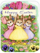 "Caroline's Treasures CDCO0331LCB ""Three Bunnies Happy Easter"" Glass Cutting Board, Large, Multicolor"