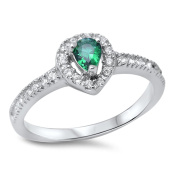 Accent Halo Wedding Ring Teardrop Pear Shape Simulated Emerald Round Clear CZ 925 Sterling Silver