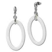 Amello stainless steel drop post Earring, white oval ceramic element, original Amello ESOX04W