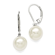 Sterling Silver Majestik 10-11mm Round White Shell Bead Leverback Earring