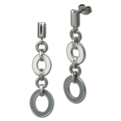 Amello stainless steel Drop Post earring, oval white and grey enamelled, original Amello ESOG01K