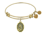 """Angelica Collection Antique Stipple Finish Brass """"a Mother's Love"""" Expandable Bangle"""