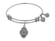 """Angelica Collection Antique Stipple Finish Brass """"celtic Oval Knot"""" Expandable Bangle"""