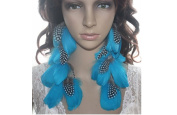 Long Feather Earrings for Women Polka Blue Natural Feather Earrings