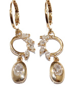 Drop Cubic Zirconia Huggies 18k Gold Plated Earrings - Drop Cubic Zirconia Huggies 18k Gold Plated